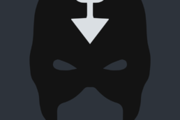 Minimalist design of Marvel's Black Bolt mask by Minimalist Heroes