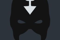 Minimalist design of Marvel's Black Bolt mask by Minimalist Heroes