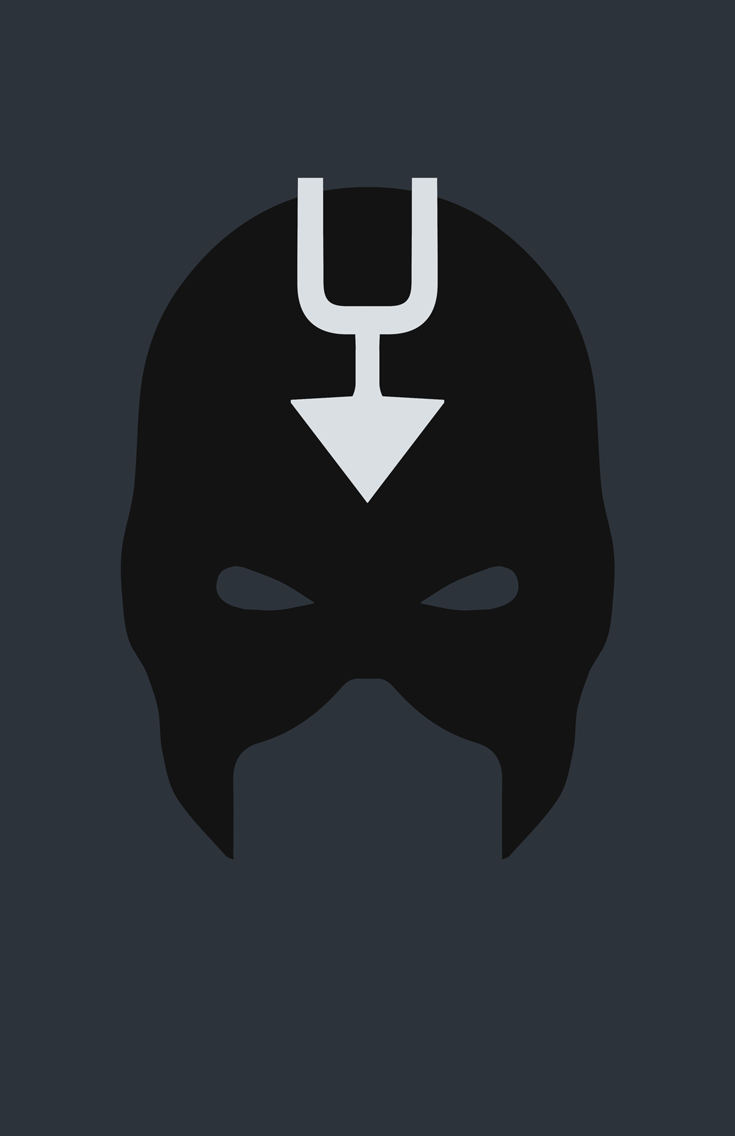 Black Bolt minimalist mask design by Minimalist Heroes.