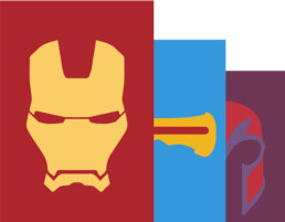 Minimalist Heroes homepage intro image of Iron Man, Cyclops, and Magneto designs