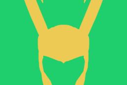 Minimalist design of Marvel's Loki helmet by Minimalist Heroes