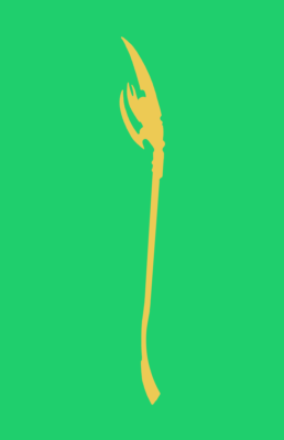Minimalist design of Marvel's Loki weapon by Minimalist Heroes