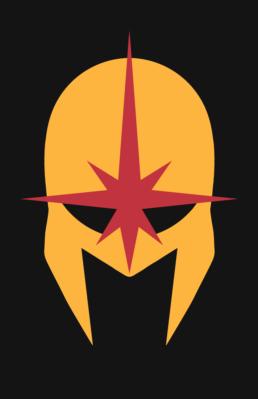 Minimalist design of Marvel's Nova helmet by Minimalist Heroes