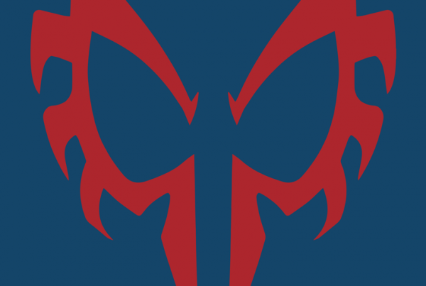 Spider-Man 2099 minimalist mask design by Minimalist Heroes