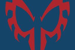 Minimalist design of Marvel's Spider-Man 2099 mask by Minimalist Heroes