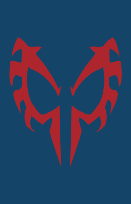 Minimalist design of Marvel's Spider-Man 2099 mask by Minimalist Heroes