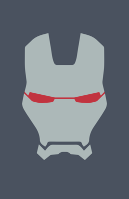 Minimalist design of Marvel's War Machine helmet by Minimalist Heroes
