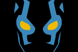 Minimalist design of DC Comics Blue Beetle mask by Minimalist Heroes