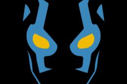 Minimalist design of DC Comics Blue Beetle mask by Minimalist Heroes
