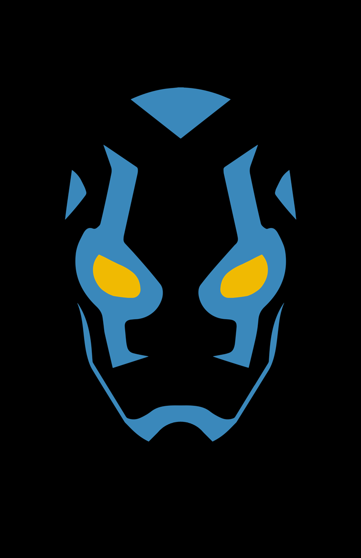Blue Beetle minimalist mask design by Minimalist Heroes.