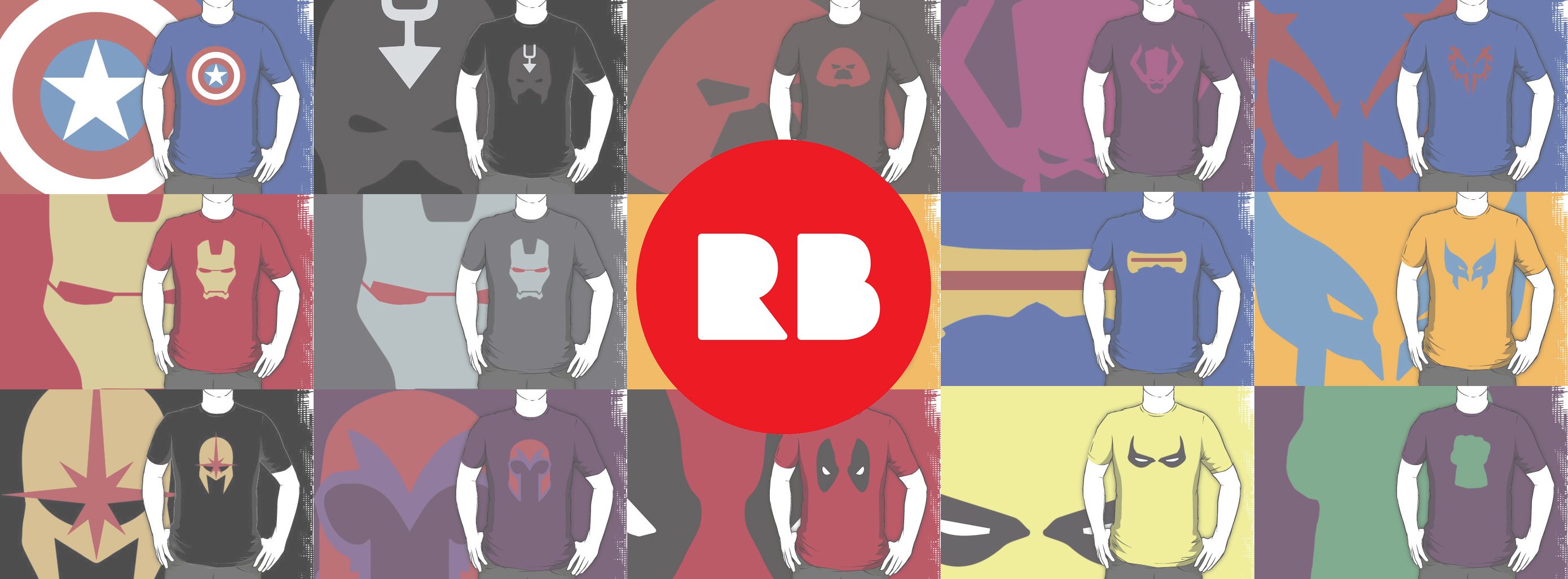 Minimalist Heroes Red Bubble shop image.