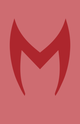 Minimalist design of Marvel's Scarlet Witch mask by Minimalist Heroes