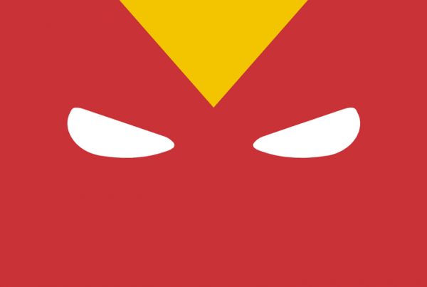 Red Tornado minimalist mask design by Minimalist Heroes.