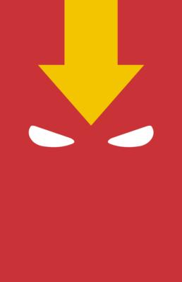 Minimalist design of DC Comics Red Tornado mask by Minimalist Heroes