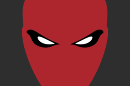 Minimalist design of DC Comics Red Hood helmet by Minimalist Heroes