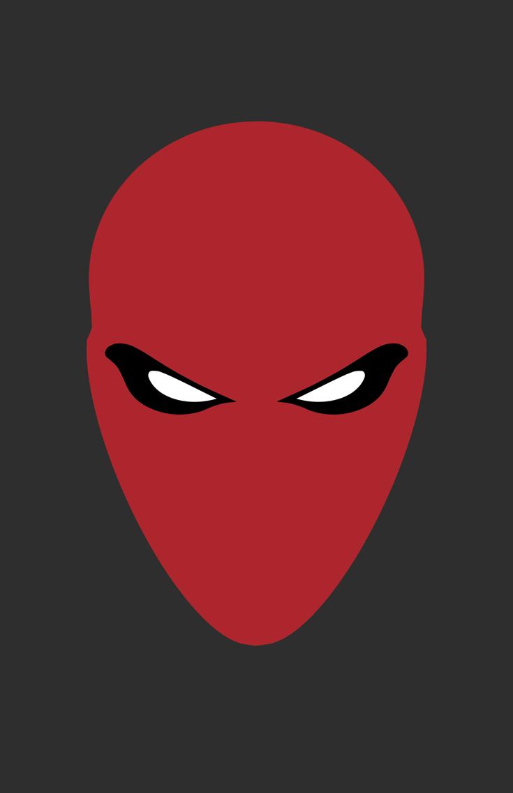 Red Hood minimalist helmet design by Minimalist Heroes.