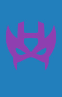 Minimalist design of Marvel's Hawkeye mask by Minimalist Heroes