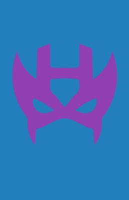 Minimalist design of Marvel's Hawkeye mask by Minimalist Heroes