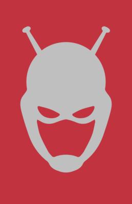 Minimalist design of Marvel's Ant-Man helmet by Minimalist Heroes