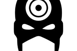 Minimalist design of Marvel's Bullseye mask by Minimalist Heroes