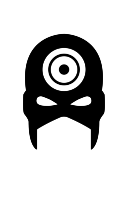 Minimalist design of Marvel's Bullseye mask by Minimalist Heroes