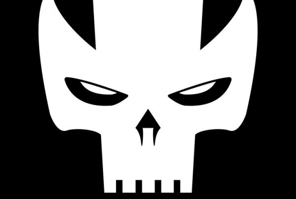 Crossbones minimalist mask design by Minimalist Heroes.